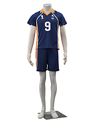 billige -Inspireret af Haikyuu Kageyama Tobio Anime Cosplay Kostumer Cosplay Kostumer Ensfarvet Kortærmet Top / Shorts Til Herre