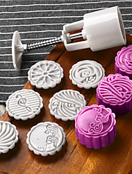 7Pcs/lot Hand pressing 50g Round Moon Cake Mold Belt  6 Stamps Cookie Cutter Pastry Moon Cake Molds