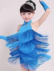 cheap -Latin Dance Outfits Children's Performance Spandex Tassel Sleeveless Natural Dress