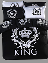 cheap -Royal Series Bedlinen 100% Cotton Bedding Sets Twin Queen King Size Black and White Color