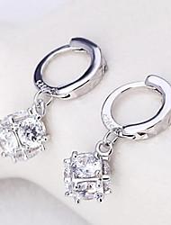 cheap -S925 silver cube sugar love window fashion earrings Elegant Style