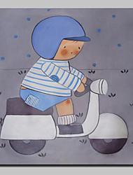 abordables -peint à la main garçon chevauchant un peintures à l'huile de moto sur l'image de l'art mur de toile avec cadre étiré prêt à accrocher