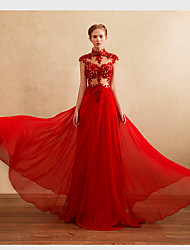 A-Line High Neck Floor Length Chiffon Formal Evening Dress with Beading Appliques by DRRS