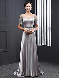 cheap -Sheath / Column Scoop Neck Sweep / Brush Train Charmeuse Formal Evening Dress with Beading Sequin by LAN TING Express