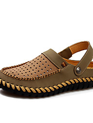 cheap -Men's Shoes Leather Summer Sandals Walking Shoes for Casual Brown Khaki