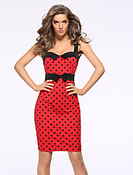 Women's Work / Plus Size Sexy Bodycon Dress,Polka Dot Strap Mini Sleeveless Blue / Red Polyester Summer