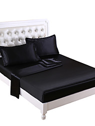 black Satin bed sheet set Queen King/California King size bedsheet pillowcase fitted Sheet 4pc bedding sets