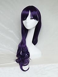 Donna Parrucche sintetiche Senza tappo Lungo Ondulati Viola Con frangia Parrucca di Halloween Parrucca naturale Parrucca per festa
