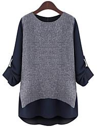 T-shirt Da donna Taglie forti Sofisticato Primavera,Monocolore Rotonda Poliestere Blu / Bianco Manica lunga Medio spessore