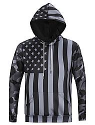 cheap -Men's Print Casual / Sport Pocket Hoodie Long Sleeve 3D Black USA Flag Stars Camouflage Hoodie