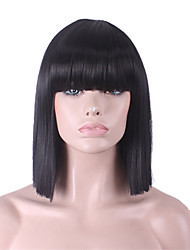 Women Synthetic Wig Medium Length Straight Yaki Black Bob Haircut With Bangs Cosplay Wig Costume Wig