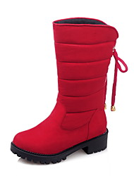 Women's Boots Spring Fall Winter Comfort Fleece Office & Career Casual Athletic Chunky Heel Bowknot Lace-up Black Gray Red Hiking