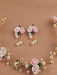 Недорогие -лист красивый розовый цветок венки оголовье для леди свадьба партии ювелирные изделия праздник волос