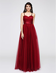 A-Line Spaghetti Straps Floor Length Tulle Prom Formal Evening Dress with Criss Cross Ruching by TS Couture®