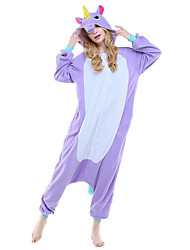 cheap -Adults' Kigurumi Pajamas Unicorn Onesie Pajamas Costume Polar Fleece Purple / Blue / Pink Cosplay For Animal Sleepwear Cartoon Halloween Festival / Holiday
