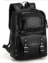 Men Backpack Cowhide Casual Outdoor Black