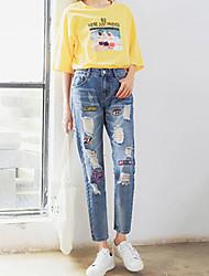 preiswerte -Damen Aktiv Jeans Hose Mehrfarbig Stickerei
