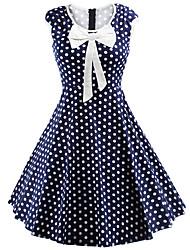 baratos -Mulheres Moda de Rua Evasê Vestido - Laço, Poá Altura dos Joelhos / Verão