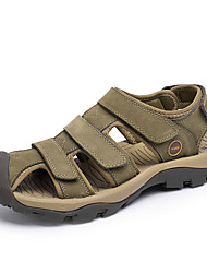 cheap -Men's Shoes Leather Summer Sandals Walking Shoes For Casual Brown Green Khaki