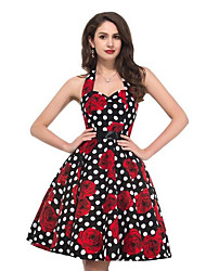 Women's Going out Vintage A Line Dress,Polka Dot Floral Halter Knee-length Sleeveless Polyester Summer Mid Rise Micro-elastic