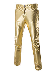 cheap -Men's Slim Shiny Gold Foil Costumes Casual Trousers,Cotton / Spandex Black / Gold / Silver