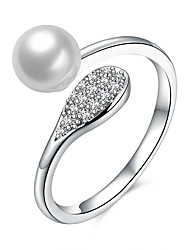 cheap -Women's Pearl Sterling Silver Zircon Ring - Unique Design Silver Ring For Birthday Business Gift Daily Office & Career