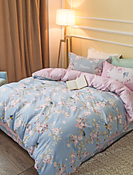 Pinkflowers 800TC bedding sets Queen King size Bedlinen printing sheets pillowcases Duvet cover sanding Cotton Fabric