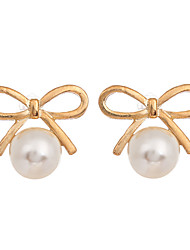 cheap -Korean Fashion Jewelry Gold Plated Bowknot Earrings Round Pearl Stud Earrings for Women Jewelry