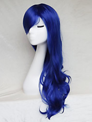 abordables -Pelucas sintéticas Ondulado Corte asimétrico / Con flequillo Pelo sintético Entradas Naturales Azul Peluca Mujer Larga Sin Tapa
