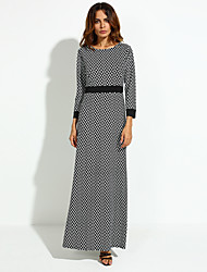 Women's Print Black Dress , Party Round Neck Long Sleeve