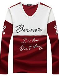 cheap -Men's Sports Plus Size Cotton T-shirt - Color Block Letter