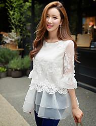 dabuwawa mulheres que saem / casual / feriado bonito / street chique blusa / sofisticado, / bordado pescoço sólido rodada ¾ manga