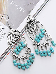 cheap -Fashion Vintage Ethnic Style Turquoise Tassel Earrings For Women Brand Charm Silver Drop Earring Fine Jewelry brincos