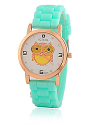 cheap -Women's Quartz Wrist Watch / Casual Watch Silicone Band Casual Owl Fashion Black White Blue Red Orange Brown Green Pink Purple Yellow