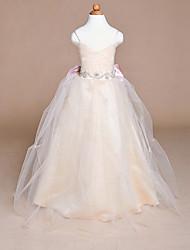 Ball Gown Floor Length Flower Girl Dress - Satin Tulle Sleeveless Spaghetti Straps with Ribbon