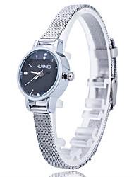 Women/Lady's Thin Silver Alloy Band White/Black Case Analog Quartz Fashion Dress Casual Watch Strap Watch