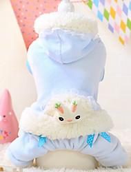 cheap -Dog Hoodie / Jumpsuit Dog Clothes Cartoon White / Blue Cotton Costume For Pets Men's / Women's Keep Warm