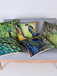 1Pcs Hand Painted Peacock Feather Pattern Pillow Cover
