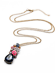 cheap -Retro Statement Jewelry Summer Fashion Long Chain Colorful Crystal Flower Pendant Necklaces For Women