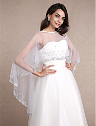Sleeveless Tulle Wedding Party Evening Women's Wrap With Rhinestone Capelets
