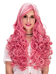 cheap -Synthetic Wig Curly With Bangs Pink Women's Capless Carnival Wig Halloween Wig Party Wig Long Synthetic Hair