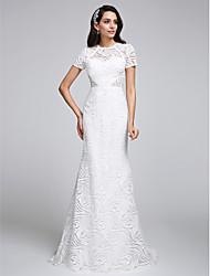 A sirena Con decorazione gioiello Strascico a terra Di pizzo Vestito da sposa con Di pizzo di LAN TING BRIDE®