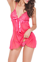 Women Lace Lingerie Nightwear,Lace Jacquard-Medium Lace Fuchsia Red Black White
