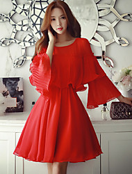 cheap -Women's Flare Sleeve Going out / Work / Holiday Cute / Street chic / Sophisticated Shift Dress,Solid Round Neck Above Knee