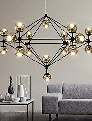 cheap -Modern Dimmable Modo Chandelier 21 Lights Semi-Flush Mounted Black Paiting Amber Glass for Living Room Loft Light