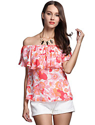 Women's Off The Shoulder|Ruffle Casual/Daily Street chic Summer Layered Fashion Blouse,Print Floral Boat Neck Short Sleeve