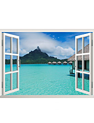 cheap -3D Wall Stickers Wall Decals Style Forest Sea View Room PVC Wall Stickers