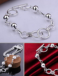 cheap -Women's Sterling Silver Adorable Chain Bracelet Charm Bracelet - Personalized Fashion Round Silver Bracelet For Christmas Gifts Wedding