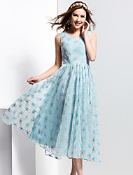 cheap -BORME® Women's V Neck Sleeveless Tea-length Dress-Z118LB