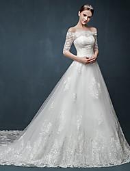 baratos -Uma linha de princesa fora do ombro do trem da catedral vestido de casamento de tule com appliques ruffle by drrs